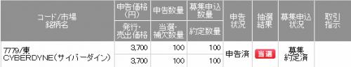 サイバーダインIPO当選SMBC日興証券