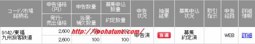 九州旅客鉄道IPO当選画像