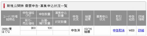 SMBC日興証券IPO当選状況