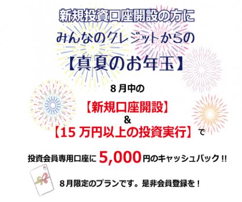 みんなのクレジット全員に5000円キャンペーン