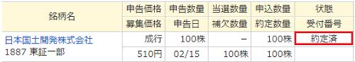 日本国土開発マネックス証券当選画像