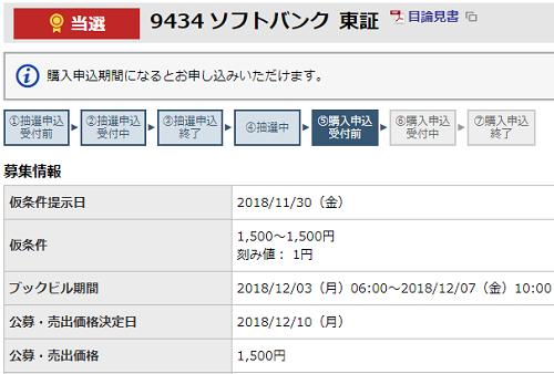 東海東京証券ソフトバンクIPO当選