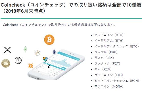 コインチェック取扱い通貨を表した画像