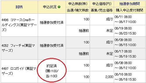 ロコガイドIPO当選100株
