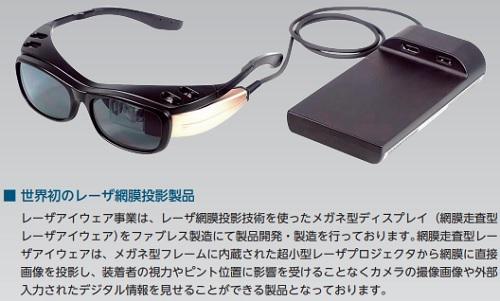 QDレーザ製(世界初のレーザ網膜投影製品)